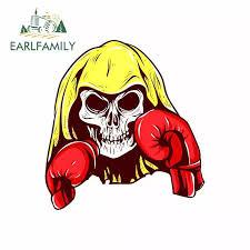 Earlfamily 13cm X 12 2cm For Skull Boxer Cartoon Drawing Funny Car Sticker Vinyl Sunscreen Rv Van Fine Decal Jdm Car Accessories Car Stickers Aliexpress