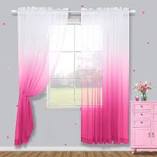 Amazon Com Pink Sheer Curtains For Girls Bedroom Curtains 63 Inch Length 2 Panels Short Semi Sheer Ombre Faux Linen Curtain For Girls Room Decor Little Kids Baby Nursery Toddler Teen Closet White