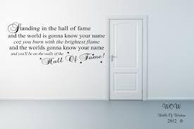 The Script Hall Of Fame Lyrics Wall Sticker Wall Art Home Decor Sticker Wall Art Wall Sticker Decal Wall Art
