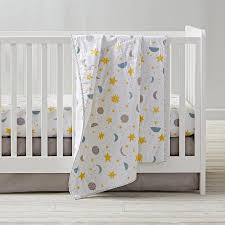 nightfall yellow blue crib bedding set
