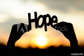 Silhouette hands holding the word hope. Background Sunset. - Buy ...