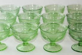 vintage green depression glass sherbets