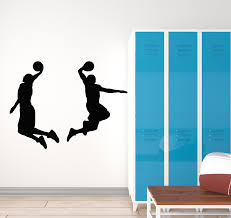 Vinyl Wall Decal Basketball Players Jump Game Ball Sport Boys Room Sti Wallstickers4you