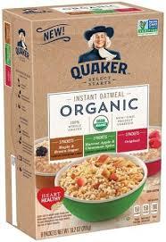 quaker organic instant oatmeal 8 ea
