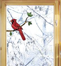 The Decal Store Com By Yadda Yadda Design Co Wnd 101 Cardinal Bird Perched On Branch Stained Glass Style Vinyl