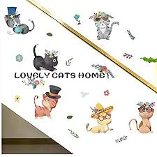 Decorstyle Cartoon Cute Cat Bunny Wall Decals Removable Kitty Friends Bunny Friends Wall Stickers Girls Bedroom Decal Art Decoration Kitty Decals Cats Rabbit Wall Sticker Willingco Kitty Friends