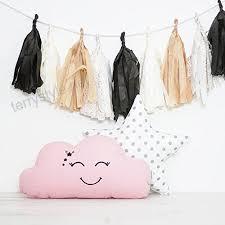 2x Set Cute Pink Cloud Cushion White Star Cushion Baby Cushions Star Pillow With Grey