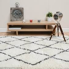 moroccan inspired black and white rug