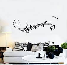 Vinyl Wall Decal Music Birds Treble Clef Musical Art Songbird Stickers Wallstickers4you