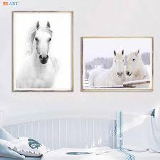 canvas painting white horses posters