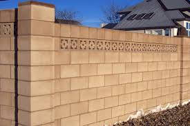 Natural Soft Brown Cement Block Fence Wall That Can Be Used To Add The Beauty Of The Exterior Design Of The Natu Exterior Brick Concrete Decor Brick Wall Decor