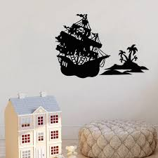 Home Bedroom Decor Vinyl Wall Decal Pirate Ship Island Boys Kids Room Creative Decoration Stickers Mural Wl1424 Wall Stickers Aliexpress