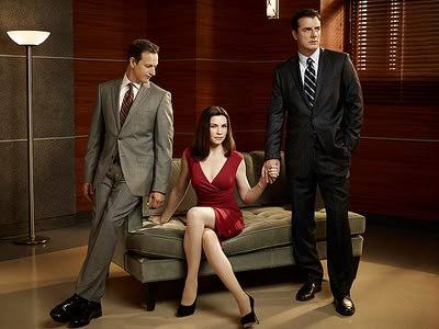 Alicia Florrick holding husband's and boss' hand