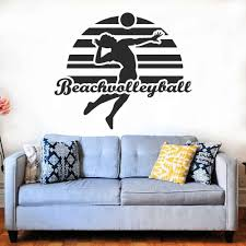 New Beach Volley Ball Design With Human Spiking Silhouette Stickers Volleyball Sports Decal For Boys Room Decoration A001108 Wall Stickers Aliexpress