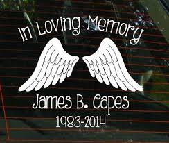 In Loving Memory Car Window Decal With Angel Wings Car Etsy In 2020 In Loving Memory Car Window Decals Window Decals