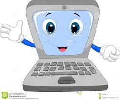 cute laptop cartoon waving hand stock