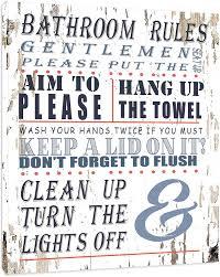 Amazon Com Bathroom Rules Bathroom Sign Framed Canvas Print Home Decor Wall Art Gallery Wrap Inner Frame White 14x18 Posters Prints