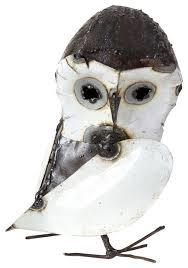 recycled metal curious owl sculptures