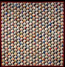 Adeline Harris Sears | Quilt, Tumbling Blocks with Signatures pattern |  American | The Met