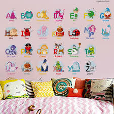 Kindergarten Colorful 6221 Alphabets Animals Stickers Alien 26 Childrens Room Wall Stickers Learning English Alphabet Stickers Removable Wall Murals Removable Wall Stencils From Fanxin0506 8 9 Dhgate Com