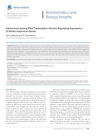 Interactions among Plant Transcription Factors Regulating Expression of  Stress-responsive Genes