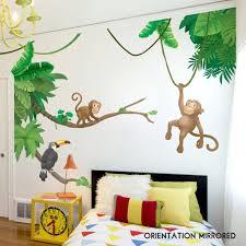 Custom Name Jungle Theme Monkeys With Jungle Leaves Vinyl Wall Decal