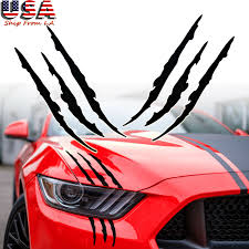 Claw Scar Mark Decal Hood Headlight Scratch Car Red Chrome Vehicle Carbon Fiber