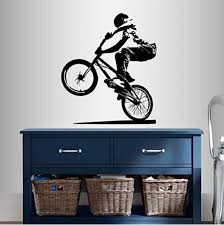 Amazon Com Wall Vinyl Decal Home Decor Art Sticker Bmx Cyclist Jump Bicycle Extreme Sports Bike Rider Guy Boy Room Removable Stylish Mural Unique Design Home Kitchen