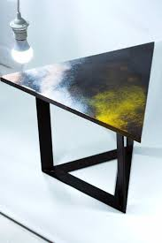 resin corner triangle side coffee table