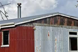corrugated sheet metal shed stock image