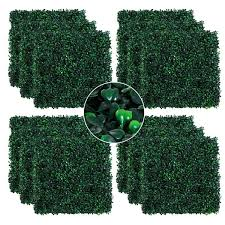 Shop Outsunny Artificial Boxwood Milan Grass Mat With Grid Back Design Includes Ties Set Of 12 20 X 20 Tiles On Sale Overstock 22393284