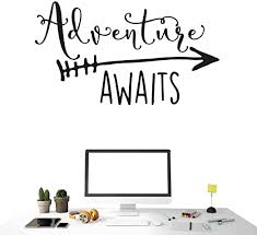 Amazon Com Art Travel Theme Decal Adventure Awaits Quote Arrow Vinyl Wall Decals Living Room Decor Wall Sticker Art Adventure Mural For Kids Bedroom Ny 360 Black 57x100cm Home Kitchen