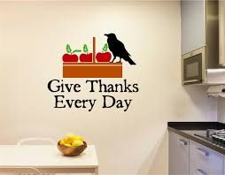 Give Thanks Every Day Fall Apples Crow Vinyl Decal Wall Stickers Words