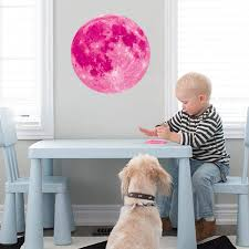 Amazon Com Glow In The Dark Pink Moon Wall Decals Glowing Wall Stickers For Ceiling Wall Decals Perfect For Kids Nursery Bedroom Living Room Pink 30 Cm Arts Crafts Sewing