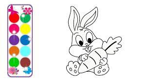 Tranh Tô Màu Con Thỏ Dễ Thương | Rabbit Drawing So Cute | Rabbit drawing,  Drawings, Draw