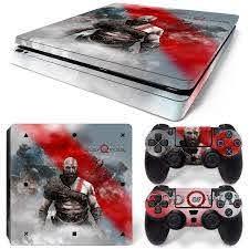 Ps4 Slim Playstation 4 Console Skin Decal Sticker God Of War Custom Design Set 743031185376 Ebay