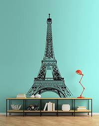Amazon Com Paris France Eiffel Tower Wall Decal Sticker Famous Landmarks Vinyl Wall Art 104in X 60in Black Color Arts Crafts Sewing
