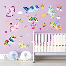 Amazon Com Decalmile Rainbow Unicorn Wall Decals Kids Room Wall Stickers Baby Nursery Girls Bedroom Wall Decor Kitchen Dining