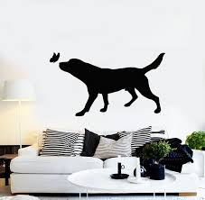 Vinyl Wall Decal Pets House Animals Care Dog Butterfly Silhouette Stic Wallstickers4you