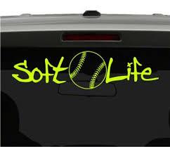 Soft Life Softball Vinyl Car Decal Sticker Free Shipping Etsy
