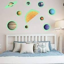 Glow In The Dark Solar System With Moon Wall Decals Ebay