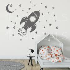 Rocket Decal Nursery Decal Space Ship Moon Stars Wall Decal Kids Wall Decor Kid Room Decor Wall Decals