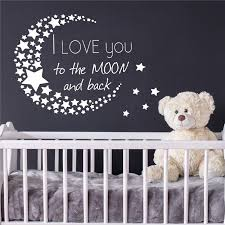 I Love You To The Moon And Back Wall Decal Quote Stars Vinyl Nursery Decor Cute Cartoon Nursery Kids Room Wall Decals Room Decor Wall Stickers Room Decoration Stickers From Joystickers 11 85