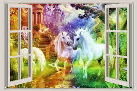 Rainbow Unicorn Window View Wall Decal Sticker Home Decor Art Mural