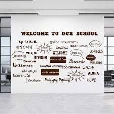 Welcome Wall Decals Personalized School Welcome World Etsy In 2020 School Office School Office Decor School Reception