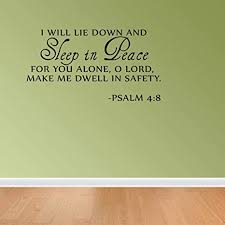 Amazon Com Sleep In Peace Psalm 4 8 Bible Verse Lettering Wall Decal Decor Quote Inspire Arts Crafts Sewing