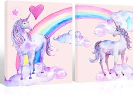 Amazon Com Purple Verbena Art Rainbow Unicorn Pictures For Children Walls Decor Watercolor Painting Artwork Canvas Print Wall Art For Kids Girls Bedroom Decoration Daughter Gifts Framed 2 Pcs Of 12x16 Inches Posters