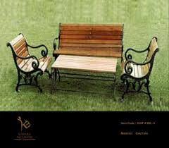 cast iron outdoor bench set with wood