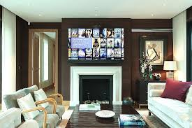 led display mounted above the fireplace