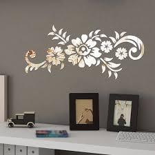 1 Wall Sticker Removable Acrylic Mirror Flower Diy Art Wall Sticker Mural Decal Home Room Decor 50x21 5cm Black Gold Silver Wall Stickers Aliexpress